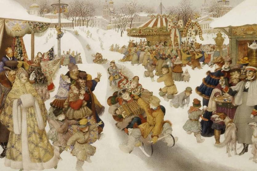 Едет Маслена по льду, везет блинцы на меду (Этнографический музей)